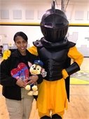 Dep. Tonya Jones with the Castle Heights Middle School Knight Mascot