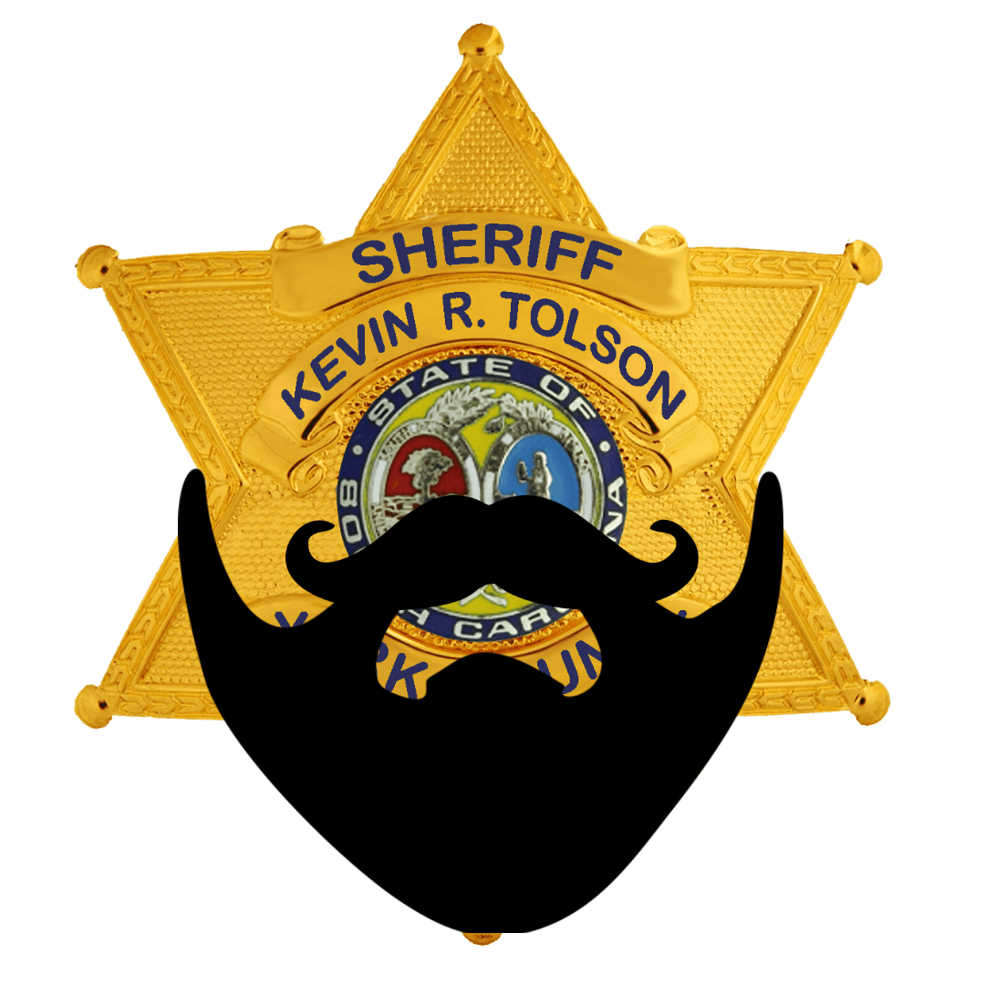 2019 No Shave November Logo sheriff's badge with beard over it