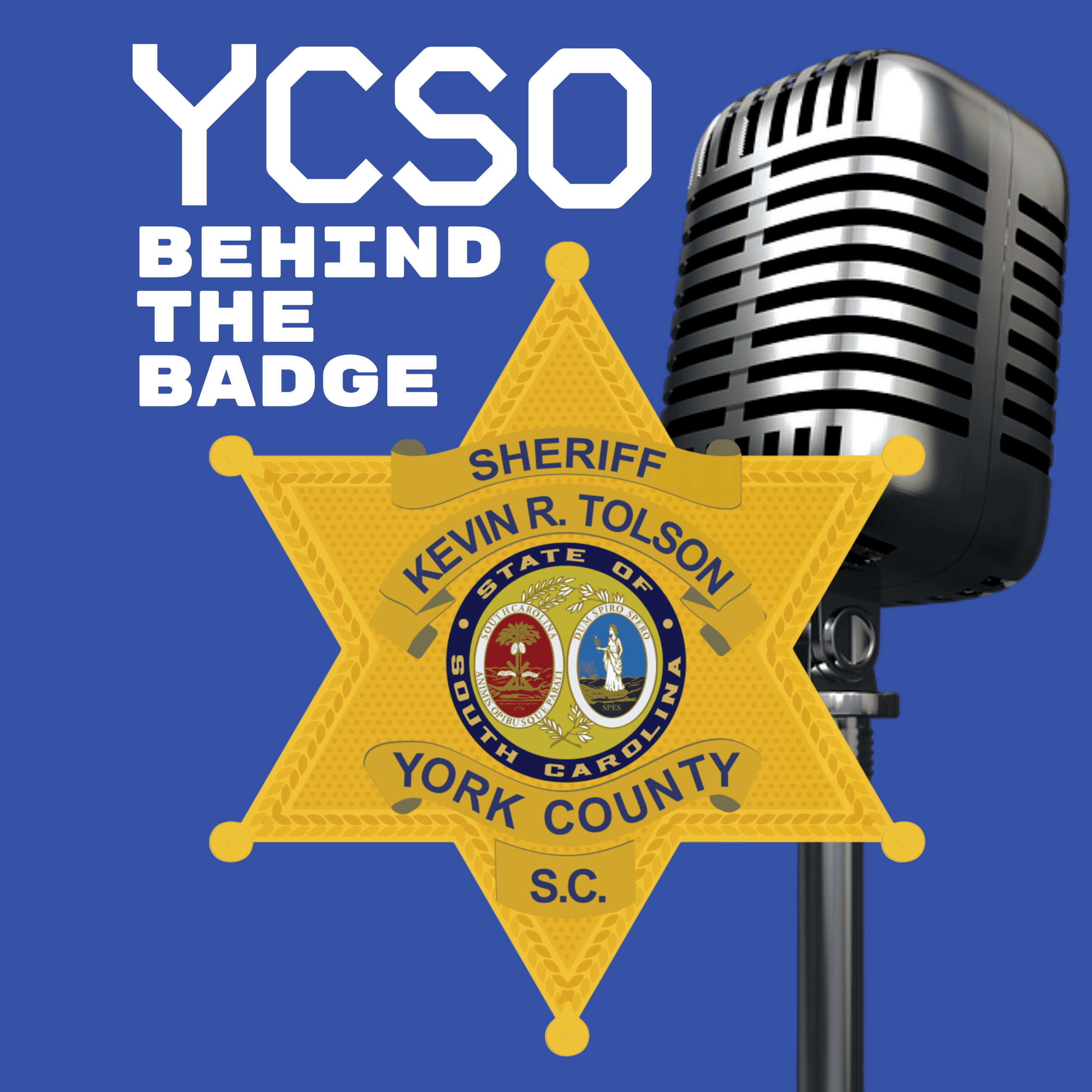 YCSO Behind the Badge Podcast Graphic Blue with a microphone.