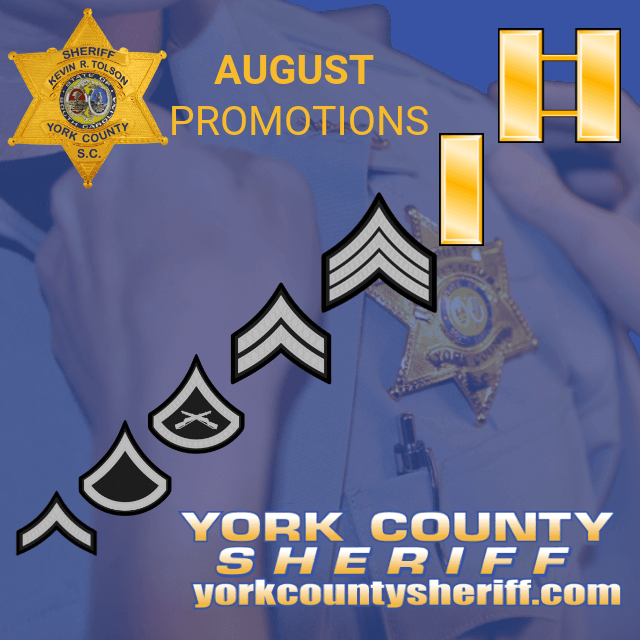 2018 August Promotions Graphic Ranks from Sr Deputy up to Captain.