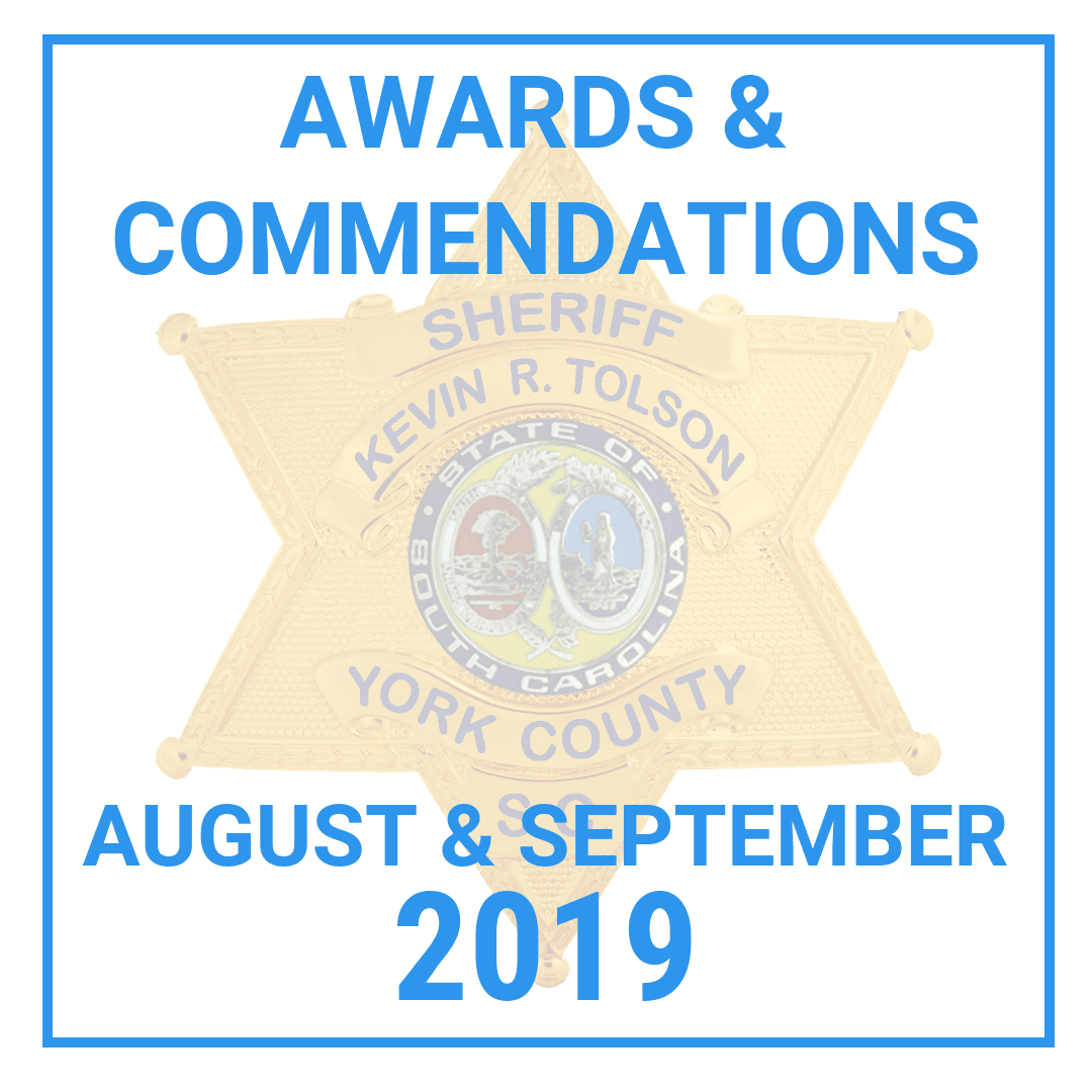 2019 August and September Awards Graphic with Sheriff's Badge